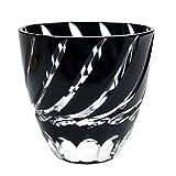 Edo Kiriko Cut Glass Small Sake Cup Double Shop Glass Nami Spiral Wave Pattern - Black