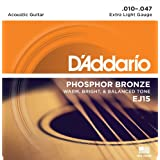 D'Addario EJ15 Phosphor Bronze Acoustic Guitar Strings, Extra Light, 10-47
