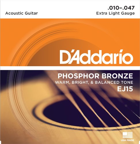 D'Addario EJ15 Phosphor Bronze Acoustic Guitar Strings, Extra Light (1 Set) – Corrosion-Resistant Phosphor Bronze, Offers a Warm, Bright and Well-Balanced Acoustic Tone and Comfortable Playability ()