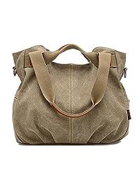 SUNROLAN Women's Ladies Casual Vintage Hobo Canvas Daily Purse Top Handle Shoulder Tote Shopper Handbag