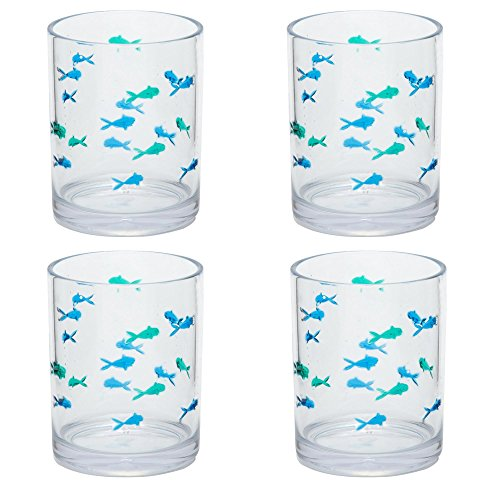 Nantucket Home Blue Green Fish Acrylic DOF Double Old Fashioned Glasses, Set of 4