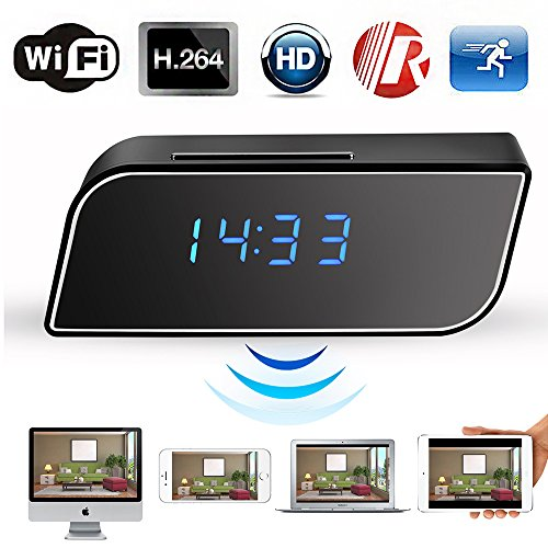 WiFi Camera Clock Hidden Camera Alarm Table Clock Motion Security HD 1080P Wireless WiFi IP Spy Hidden Camera IR DV Cam