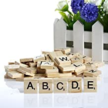Arich 100Pcs Wooden Scrabble Tiles Black Letters Numbers for Crafts Wood (1 Sets)