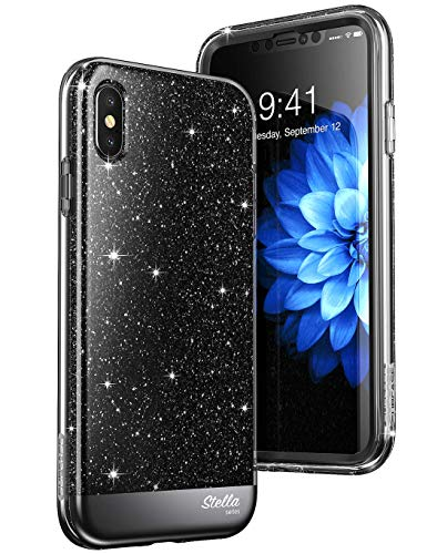 SUPCASE iPhoneXsMaxCase, [Unicorn Beetle Stella Series] Premium Hybrid Shinning Glitter Bling Protective Case with Built-in Screen Protect for Apple iPhoneXsMax 6.5 inch 2018 Release (Black)