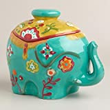 Colorful Ceramic Elephant Cookie Jar/Storage Container/Decor