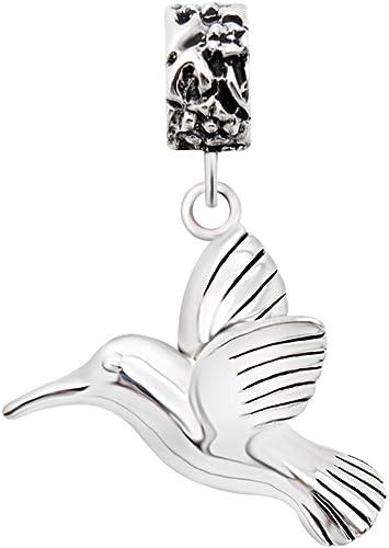 Nature Charm Bracelet Expandable Flower Charm Sterling Silver Bird Charm Bangle Humming Bird Bangle Bracelet Silver