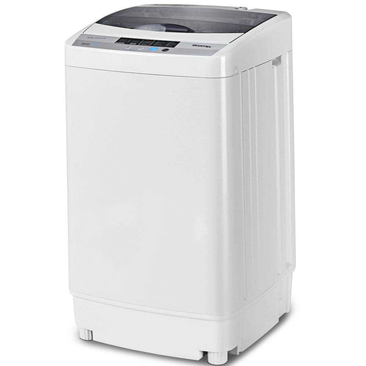 LHONE Full-Automatic Washing Machine 1.6 Cu.ft Portable Compact Mini Multifunctional Full Automatic Laundry Washer Spin Dryer with Drain Pump & LED Display Top Load