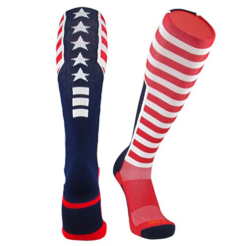 TCK Elite USA Flag Patriot Red White Blue Basketball Football Knee High Socks (Medium)