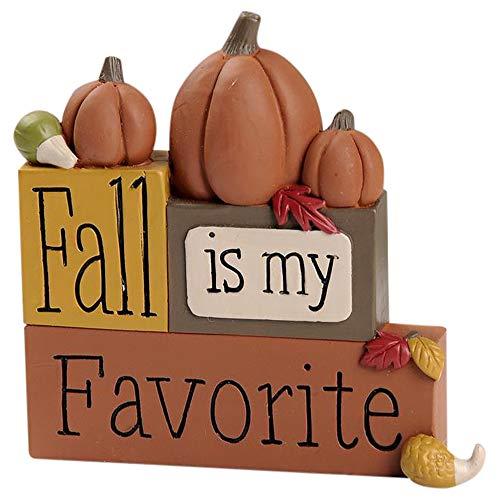 Fall is My Favorite Pumpkins 4 x 4 Block Look Resin Stone Tabletop Sign