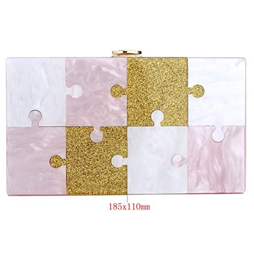 Acrylic Bags Women Pink Design for Bag Jigsaw Clutch Evening Handbags Purse Glitter 7HrxwqF17