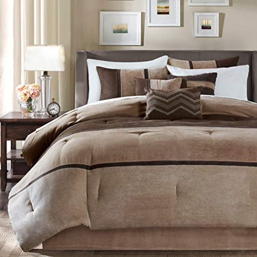 OSD 7pc Tan Chocolate Brown Striped Comforter Queen Set, Dark Taupe Color Block Adult Bedding Master Bedroom Stylish Patchwork Pattern Elegant Embroidered Pillow Traditional, Polyester Stripe