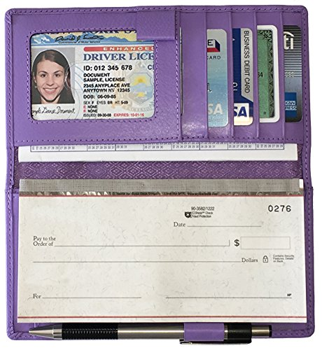 Light Purple RFID Leather Checkbook Cover with Credit Card Slots and Pen Holder ()