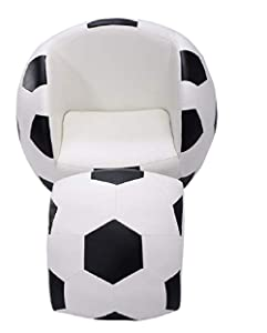 Football Shaped Kids Sofa Couch with Ottoman BESTChoiceForYou