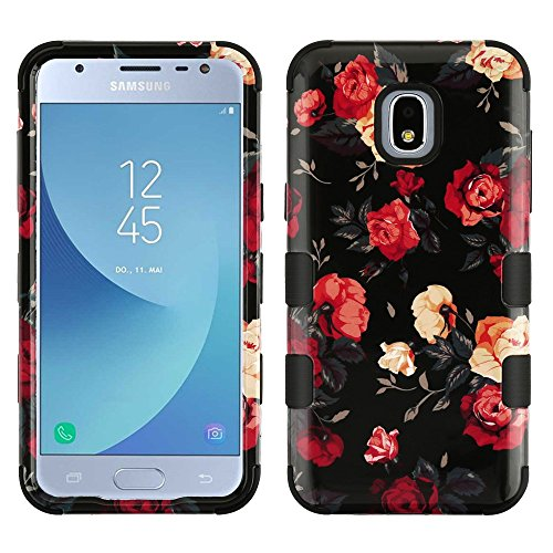 TUFF Hybrid Rugged Protection Case Cover and Atom Cloth for Samsung Galaxy J3, J3 V 3rd Gen 2018 - Red and White Roses