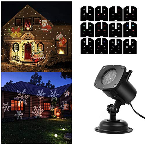 SOLLED Christmas Projector Lights 12 Pattern LED Light Projector/Star Shower Projector Light - Holiday Spotlight with RF Wireless Remote Perfect for Patio Xmas, Wedding,Holiday,Party Decor (02)