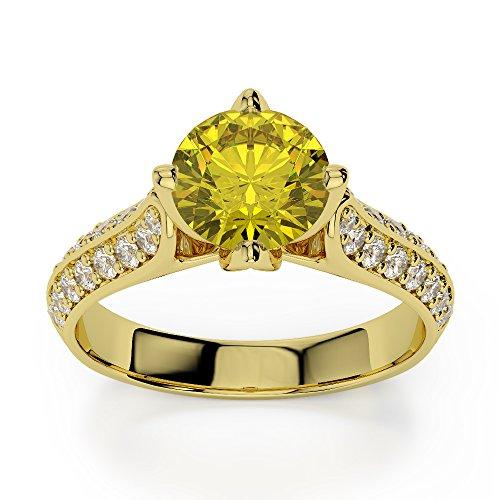 Or jaune 18carats 1CT G-H/VS sertie de diamants ronds Cut Saphir Jaune et bague de fiançailles Agdr-1205
