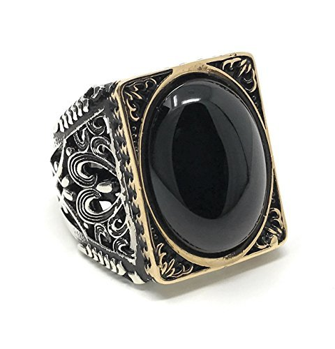 KAR 925K Stamped Sterling Silver Black Onyx Large Men's Ring I1O Gift for Him - Silver Eagle Sterling Ring