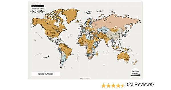 Enjoy Maps World Mapa Diseñada con Tinta Rascable, Papel, Multicolor, 65 x 45 cm: Amazon.es: Hogar