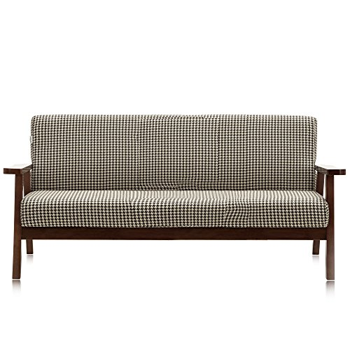 Krei Hejmo Vintage Brown Wooden Low-Seat Armchairs Sofa Couch with Fabric (Three-Seater, Dark Brown Wood/Brown Houndstooth Fabric) -