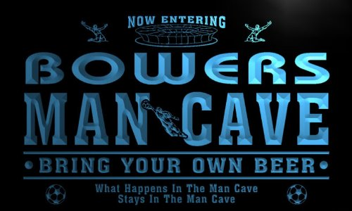 qd1473-b BOWERS Man Cave Soccer Football Bar Neon Beer Sign by AdvPro Name