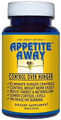 Appetite Away Hunger Suppressant Bottle (30 Capsules) by 4 Organics - All Natural Diet Pill - No Jitters - Satisfaction Guarantee