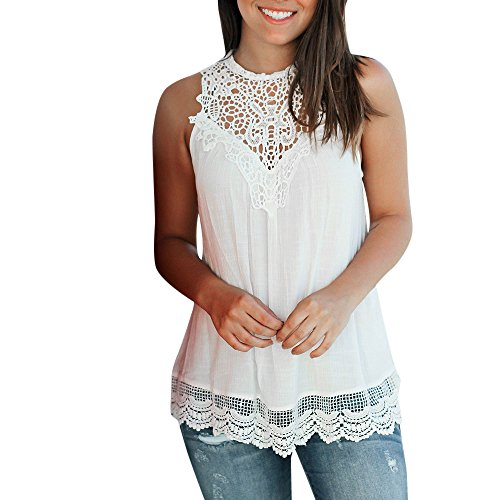 (Sunhusing Women's Solid Color Pleated Lace Patchwork Vest Sleeveless Ruffled Crochet Tank Top Blouse (2XL, White))