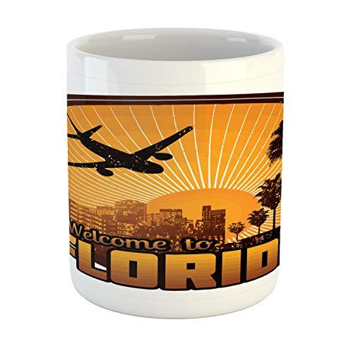 (Ambesonne Florida Mug, Retro Stamp Graphic with Welcome to Florida Theme Travel Destination, Printed Ceramic Coffee Mug Water Tea Drinks Cup, Brown Orange and White)