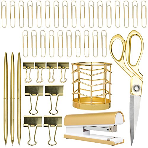 Gold Desk Accessories | 7 Desktop Essentials (44 Items Total) | Office Supply Set & Organizer in Gold Décor