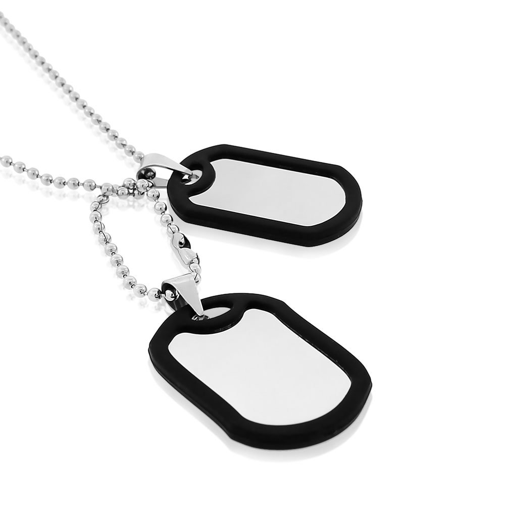 EDFORCE Stainless Steel Black Rubber Silicone Silver-Tone Double Two Dog Tag Necklace Set