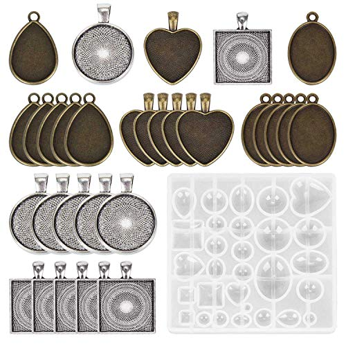 (TOOGOO 30 Pieces 5 Styles Pendant Trays Round & Square Heart & Teardrop & Oval,and 1 Pcs Jewelry Casting Molds for Pendant Crafting DIY Jewelry Gift Making)