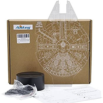 7 Colors Amazing Optical Illusion 3D Glow LED Lighting Toys Decor Lamp ( Millennium Falcon Model)