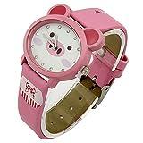 Pink Strap Piggy Face Pattern Kids Boys Girls Quartz Cartoon Wrist Watches PU Leather Fq-143
