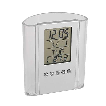 Lanker Reloj Digital De Escritorio - Estilo De PortaláPices con Pantalla De Hora, Calendario Y