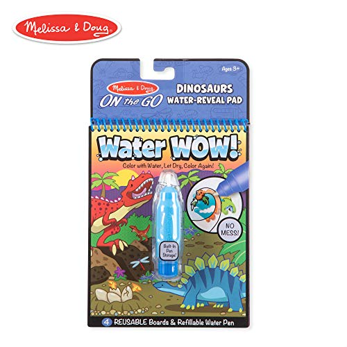Melissa & Doug On The Go Water Wow! Dinosaurs Reusable Water-Reveal Activity Pad, Chunky-Size Water Pen -