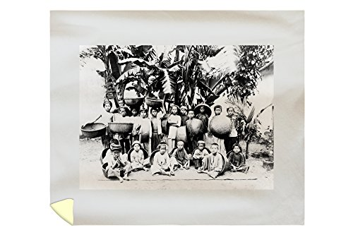 Lantern Press Group of Children with Baskets in Saigon Photograph 4713 (88x104 King Microfiber Duvet Cover)