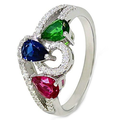 Epinki 925 Sterling Silver Women Wedding Engagement Ring Colorful Teardrop Zirconia Crystal Silver Size 8
