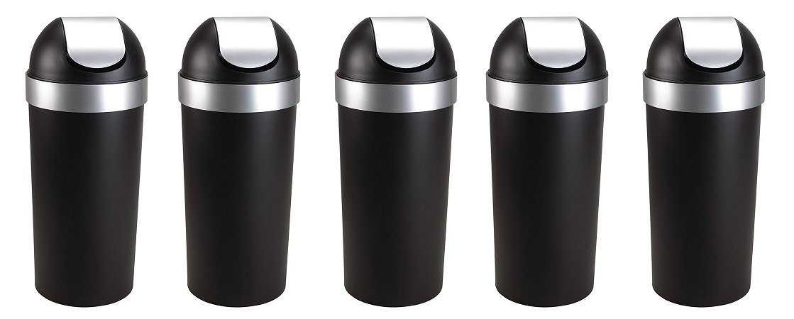 Umbra Venti 16-Gallon Swing Top Kitchen Trash Can – Large, 35-inch Tall Garbage Can for Indoor, Outdoor or Commercial Use, Black/Nickel (5 PACK)