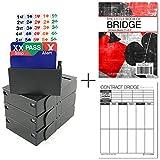 Jannersten Bid Buddy (Black) - Set of 4 Bridge Bidding Boxes with Cards + 200 Contract Bridge Score Sheets