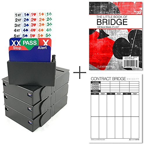 Jannersten Bid Buddy (Black) - Set of 4 Bridge Bidding Boxes with Cards + 200 Contract Bridge Score Sheets
