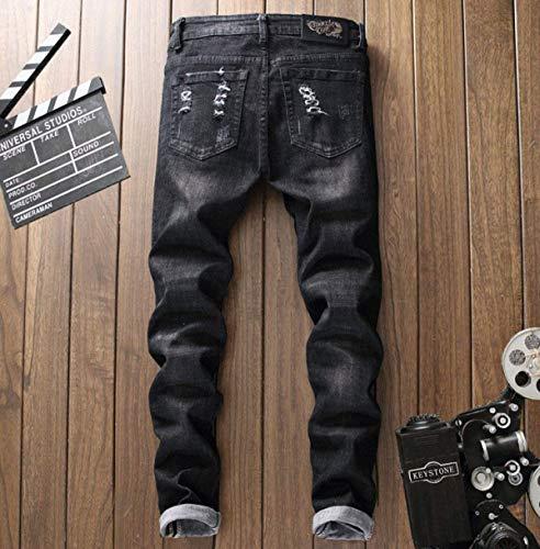 Stile Uomo Skinny Pantaloni 12 Semplice Midi Size Regular color Slim Da 32 Cinturino Stretch Fit Jeans Di Senza Dritti PWAnYxq