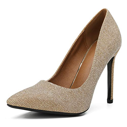 fereshte Women's Classic Pointy-Toe Dress Pumps Sexy Slip-on Stiletto High Heels Glitter Gold EU43 ()