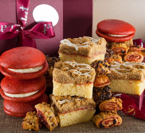 Dulcet Get Well Soon Gift Basket, Perfect Recovery Gift, includes: Raspberry Crumb Cake, Velvet Whoopee Pies, and Assorted Rugelach. Top Gift for Warm Get Well Wishes.