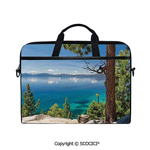 (Laptop Sleeve Notebook Bag Case Messenger Shoulder Laptop Bag Panoramic Perspective from East Shore at Lake with Pine Trees and Reflections Image with Handle and Extra Side Pockets )