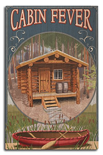 Lantern Press Torch Lake, Michigan - Cabin in Woods (10x15 Wood Wall Sign, Wall Decor Ready to Hang) -