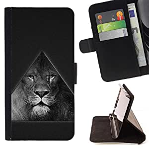 DEVIL CASE - FOR Apple Iphone 6 - Triangle Majestic Lion B & W - Style PU Leather Case Wallet Flip Stand Flap Closure Cover