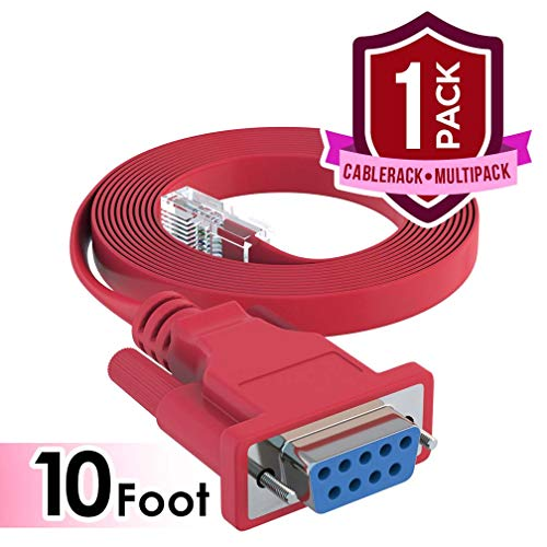 CableRack 10ft DB9 Female to RJ45 Male Rollover Console Cable for Cisco Red