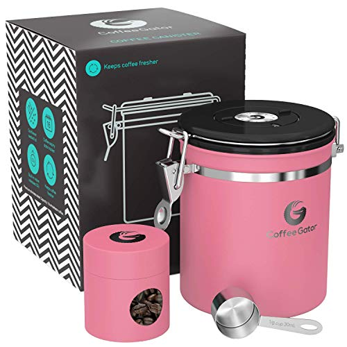 - Coffee Gator Stainless Steel Container - Canister with co2 Valve, Scoop and Travel Jar - Medium, Pink