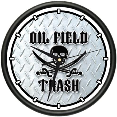 Oil Field Trash Wall Clock Black Gold Worker Pump rig Roughneck Gag Gift