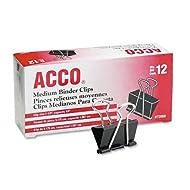 Acco Brands A7072050 Binder Clips, Medium, 12 Per Box, 6 Boxes = 72 Medium Clips