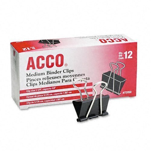 Acco Brands A7072050 Binder Clips, Medium, 12 Per Box, 6 Boxes = 72 Medium Clips